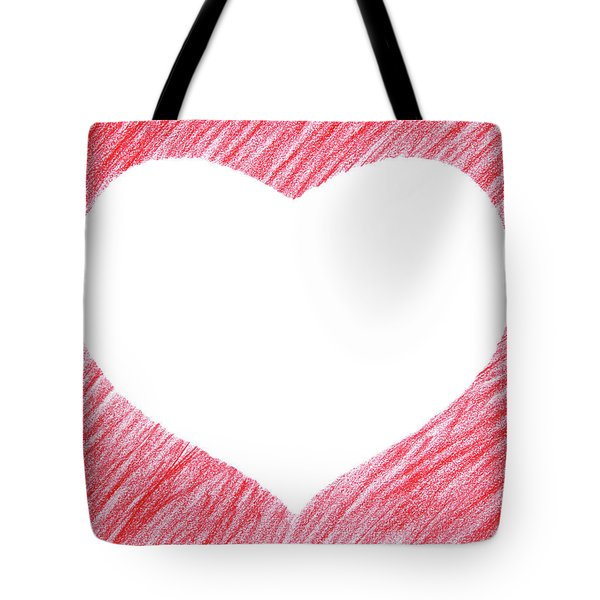 Hand-drawn Red Heart Shape Tote Bag