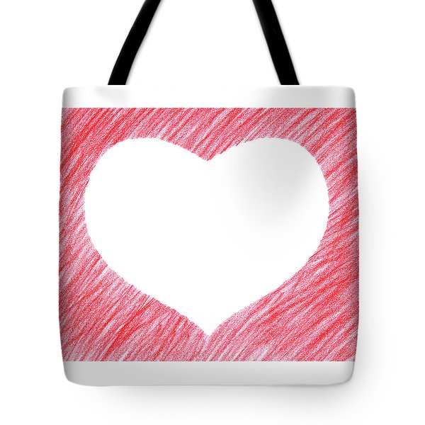 Hand-drawn Red Heart Shape Tote Bag by GoodMood Art