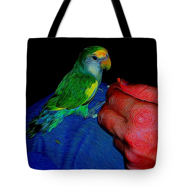 Hand Fed In Abstract Tote Bag