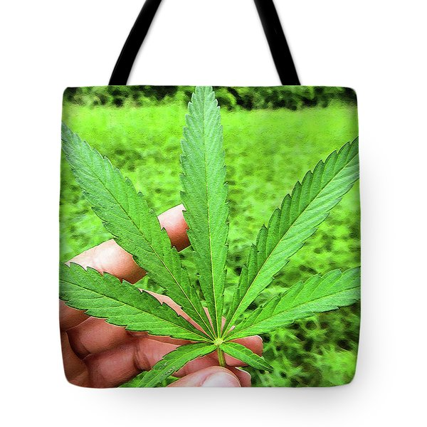 Hand Holding A Hemp Leaf Tote Bag