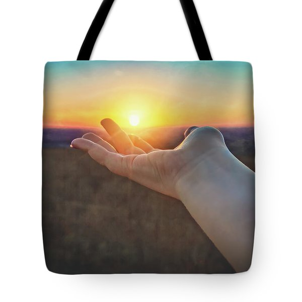 Tote Bag featuring the photograph Hand Holding Sun - Sunset At Lapham Peak - Wisconsin by Jennifer Rondinelli Reilly - Fine Art Photography