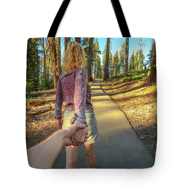 Tote Bag featuring the photograph Hand In Hand Sequoia Hiking by Benny Marty