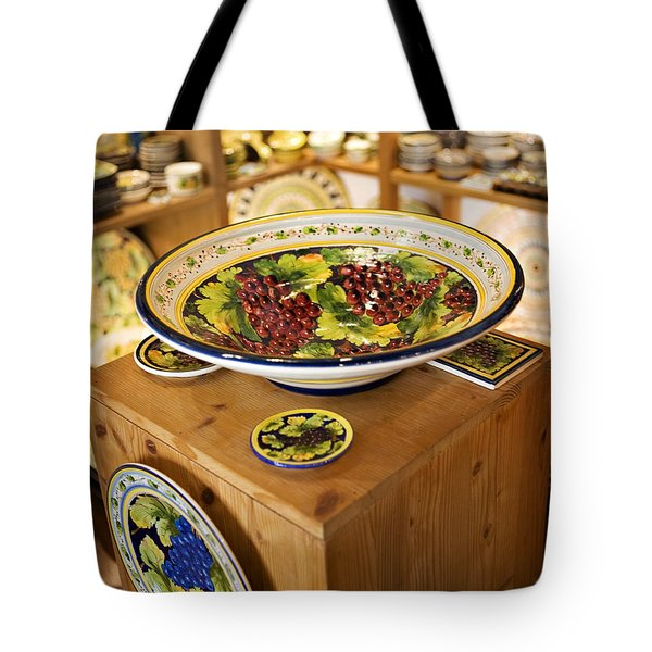 Hand Painted Dishes Tote Bag by Marilyn Hunt