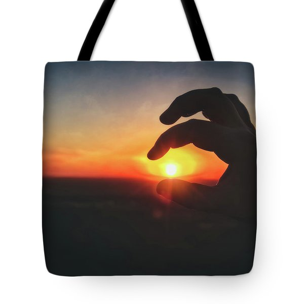 Tote Bag featuring the photograph Hand Silhouette Around Sun - Sunset At Lapham Peak - Wisconsin by Jennifer Rondinelli Reilly - Fine Art Photography