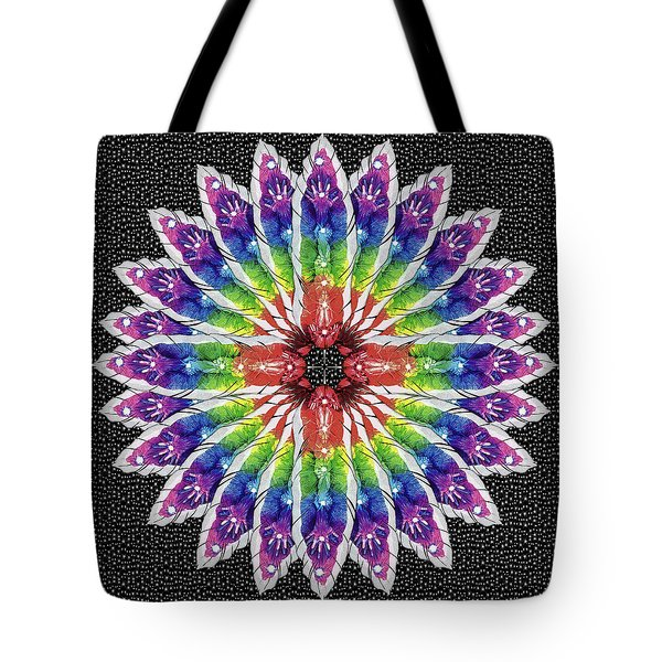 Tote Bag featuring the mixed media Hand Totem Mandala by Kym Nicolas