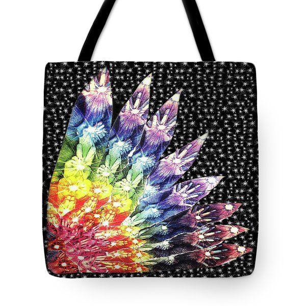 Tote Bag featuring the mixed media Hand Totem Wing by Kym Nicolas