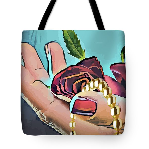 Hand With Red Rose And Pearls Tote Bag