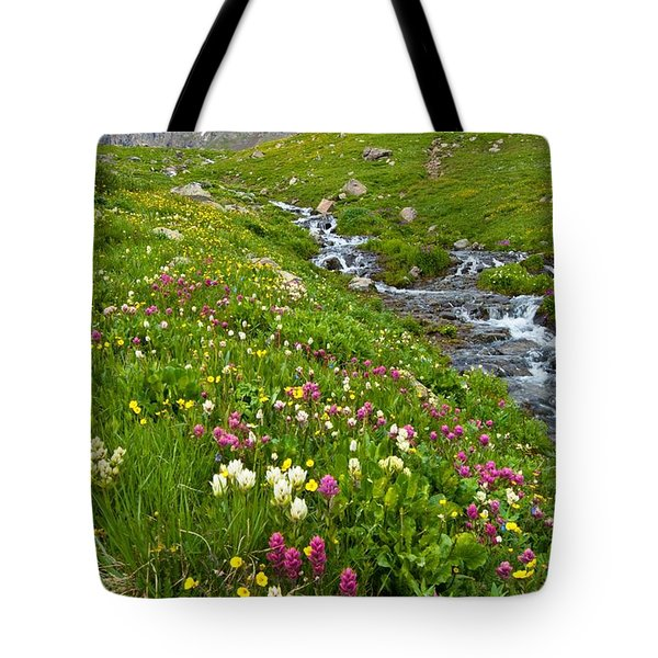 Handie's Peak And Alpine Meadow Tote Bag