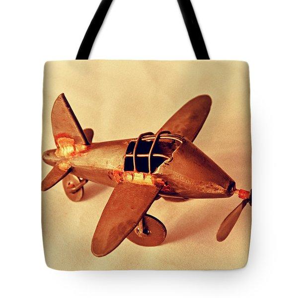 Handmade Metal Toy Plane Tote Bag