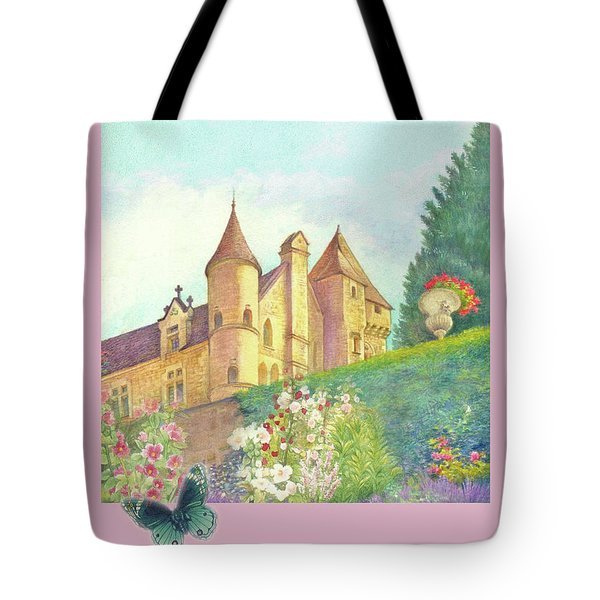 Handpainted Romantic Chateau Summer Garden Tote Bag