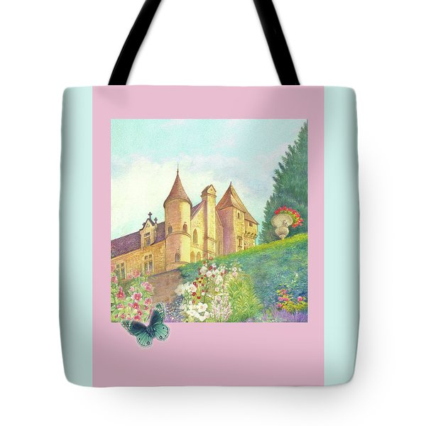 Handpainted Romantic Chateau Summer Garden Tote Bag by Judith Cheng