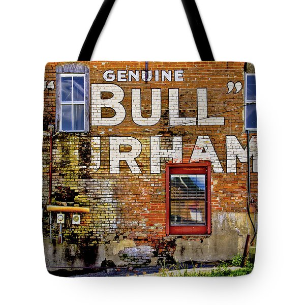Tote Bag featuring the photograph Handpainted Sign On Brick Wall by David and Carol Kelly