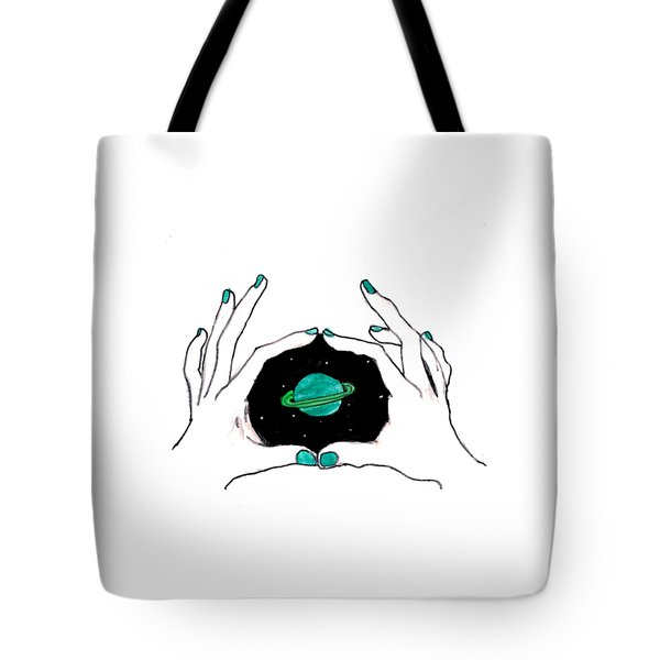 Hands Around Saturn Tote Bag by Lucy Frost