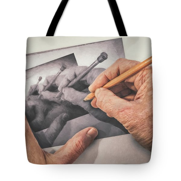 Hands Drawing Hands Tote Bag