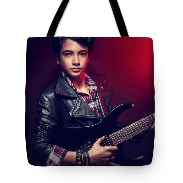 Handsome Guy With Guitar Tote Bag