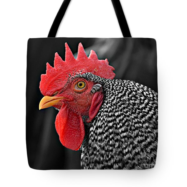Handsome Plymouth Rock Rooster Tote Bag