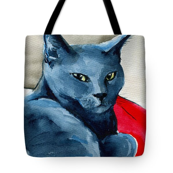Handsome Russian Blue Cat Tote Bag