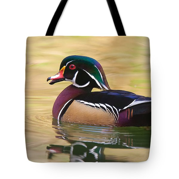 Tote Bag featuring the photograph Handsome Wood Duck by Ram Vasudev