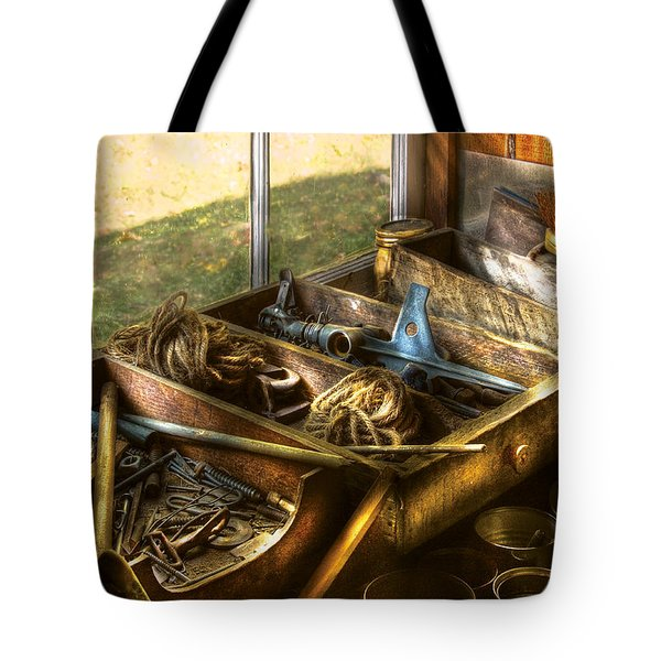 Handyman - Junk On A Bench Tote Bag by Mike Savad