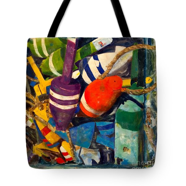 Hangin With The Buoys Tote Bag by Beth Saffer