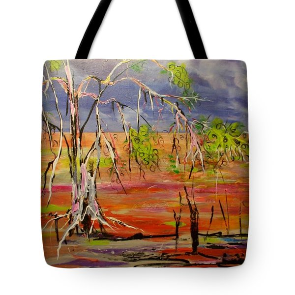 Tote Bag featuring the painting Hanging On by Lyn Olsen