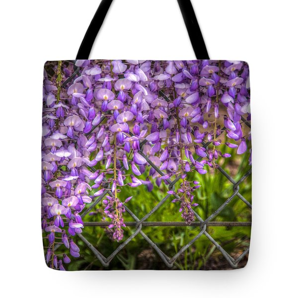 Hanging On The Fence, Wisteria Tote Bag