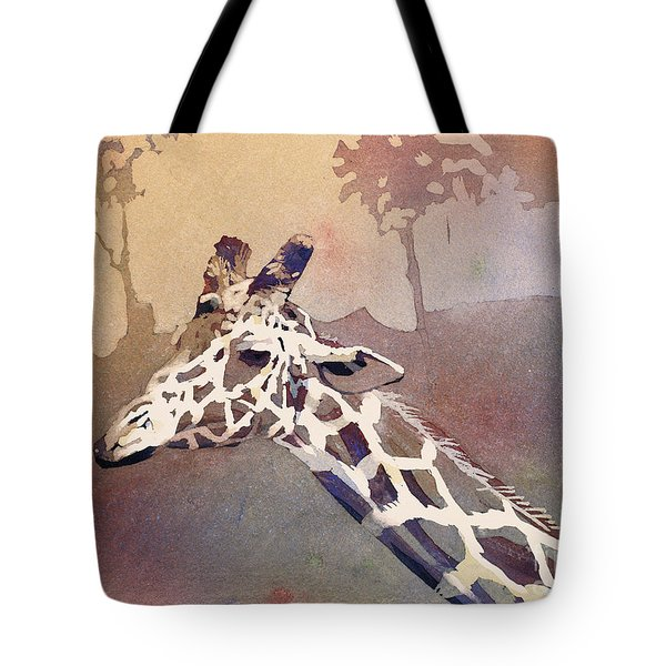 Tote Bag featuring the painting Hanging Out- Giraffe by Ryan Fox