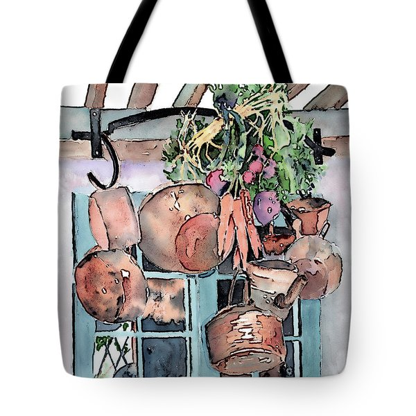 Hanging Pots And Pans Tote Bag by Arline Wagner