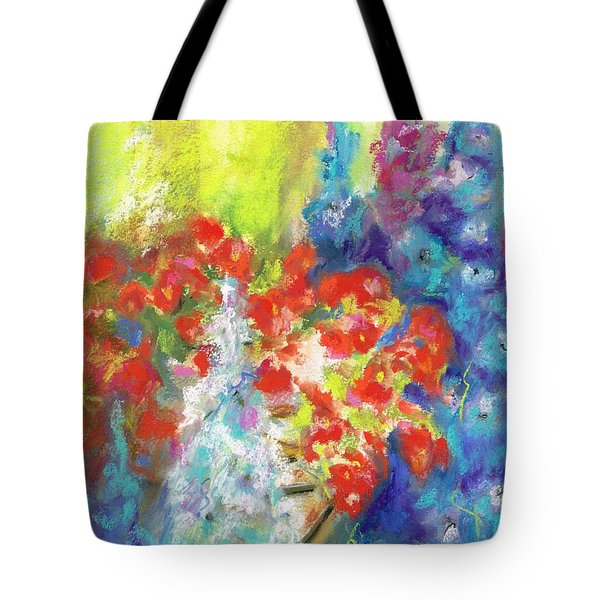 Hanging With The Delphiniums  Tote Bag by Frances Marino
