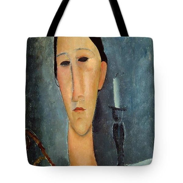 Hanka Zborowska With A Candlestick Tote Bag by Amedeo Modigliani