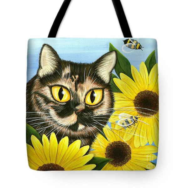 Tote Bag featuring the painting Hannah Tortoiseshell Cat Sunflowers by Carrie Hawks