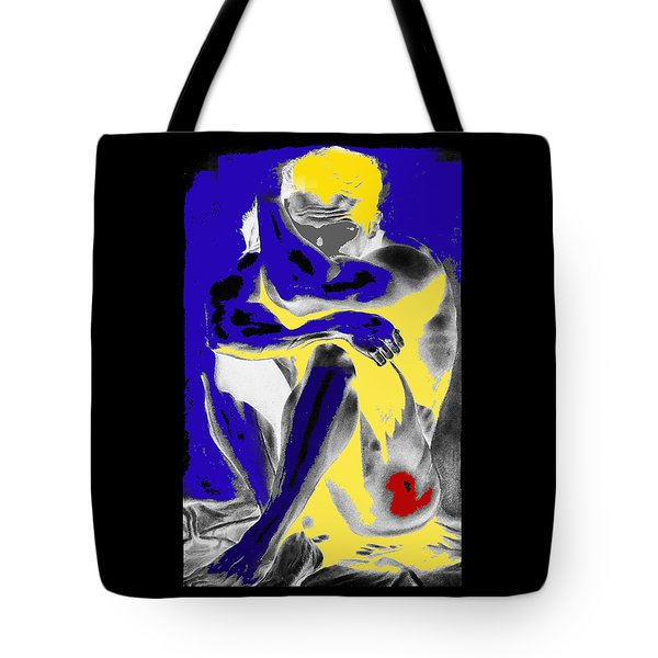 Original Contemporary Painting A Handsome Nude Man Tote Bag by RjFxx at beautifullart com