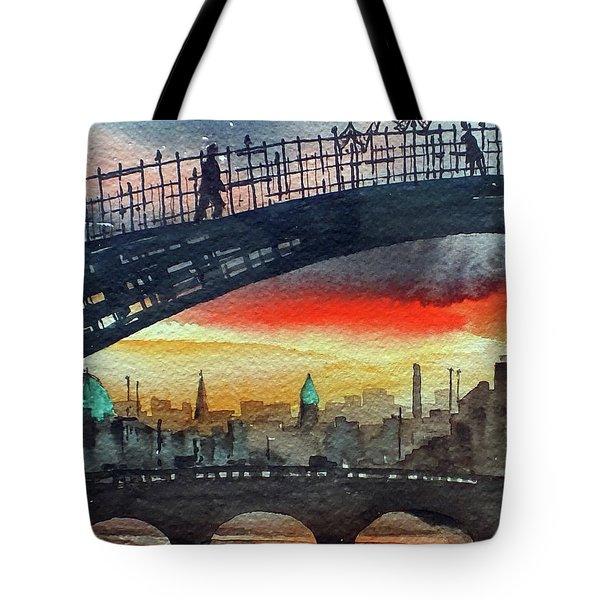 Hapenny Bridge Sunset, Dublin...27apr18 Tote Bag