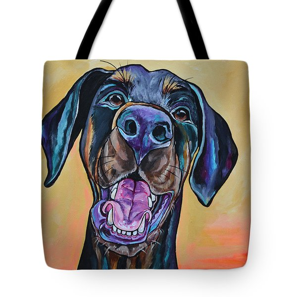 Tote Bag featuring the painting Happiness Is A Dog by Patti Schermerhorn