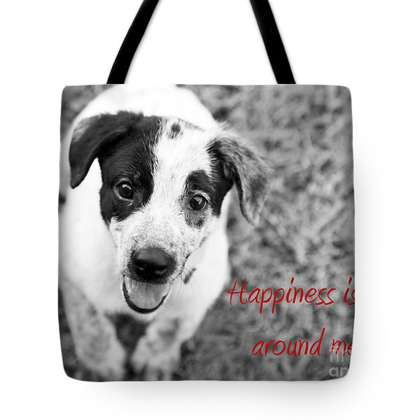 Happiness Is All Around Me Tote Bag by Amanda Barcon