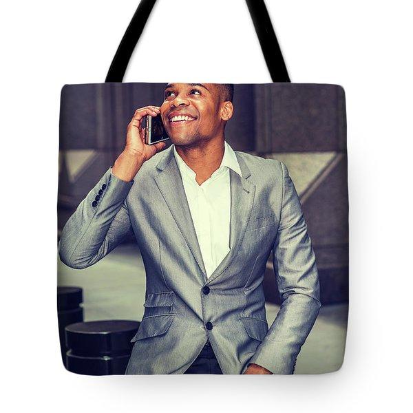 Happy African American Businessman Working In New York 15082323 Tote Bag