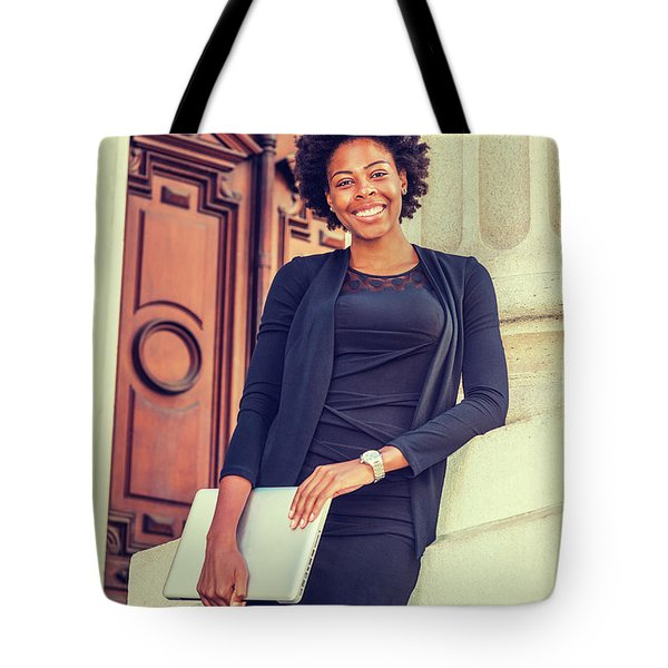 Happy African American College Student Tote Bag