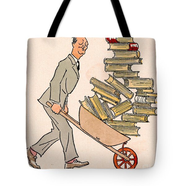 Tote Bag featuring the drawing Happy Bibliophile 1930 by Padre Art
