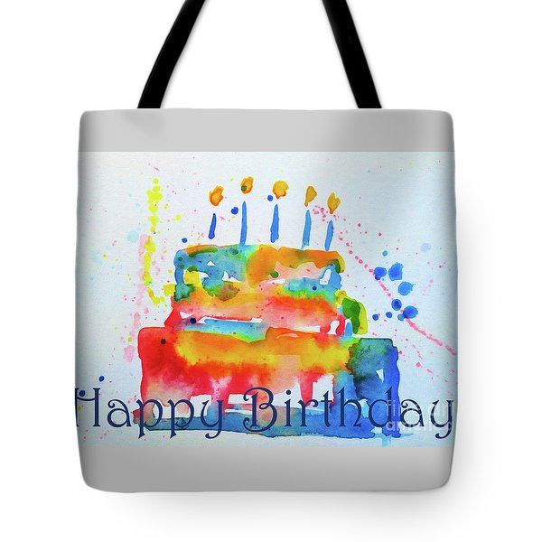 Tote Bag featuring the painting Happy Birthday Blue Cake  by Claire Bull