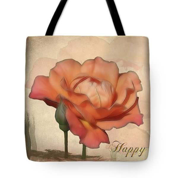 Happy Birthday Peach Rose Card Tote Bag