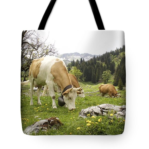 Happy Cows In High Pastures Tote Bag by Colleen Williams