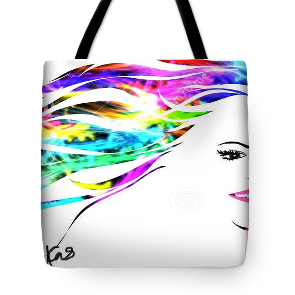Tote Bag featuring the digital art Happy by Diana Riukas