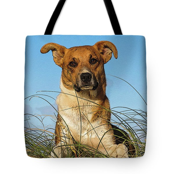 Happy Dog At The Beach Tote Bag