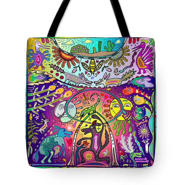 Tote Bag featuring the digital art Happy Dogs by Marti McGinnis
