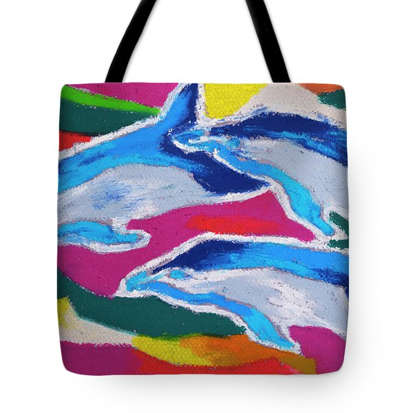 Happy Dolphin Dance Tote Bag by Stephen Anderson