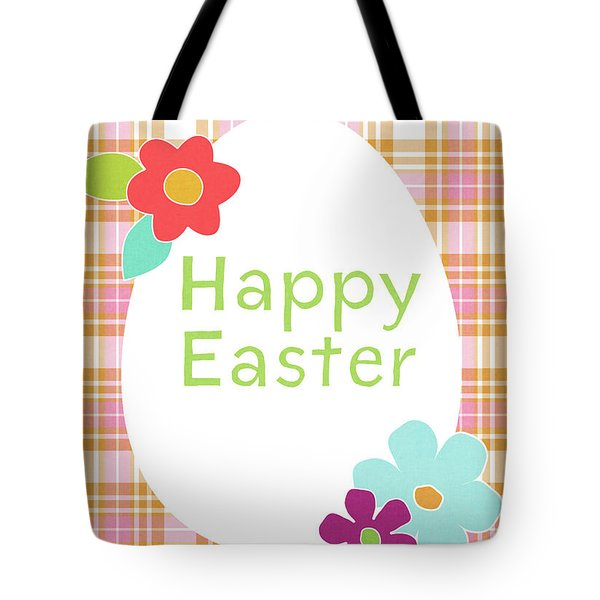 Happy Easter Egg Pink Plaid- Art By Linda Woods Tote Bag