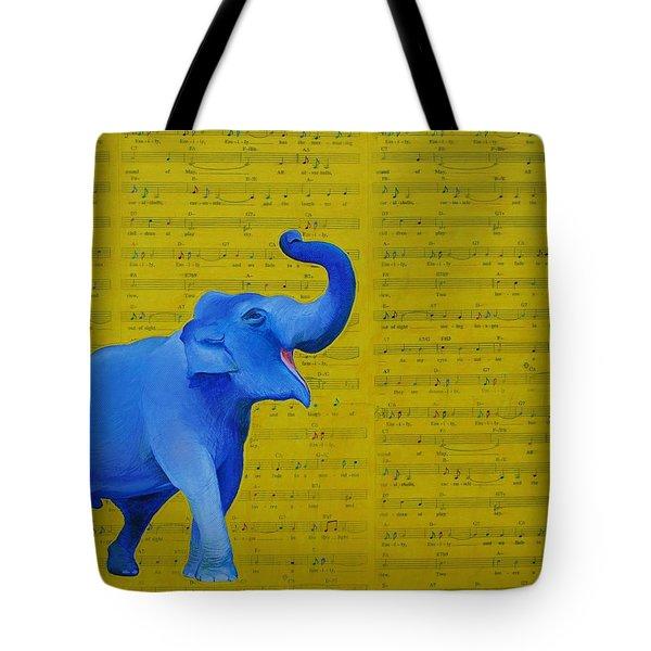 Happy Elephant Singing Emily Tote Bag