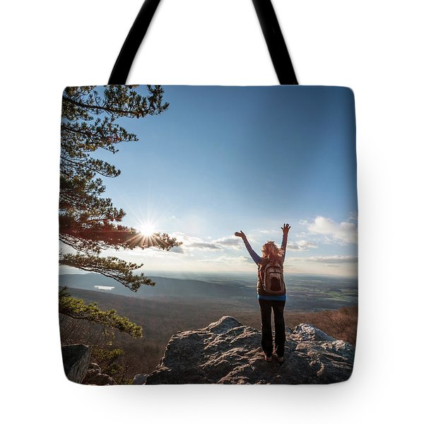 Happy Female Hiker At The Summit Of An Appalachian Mountain Tote Bag