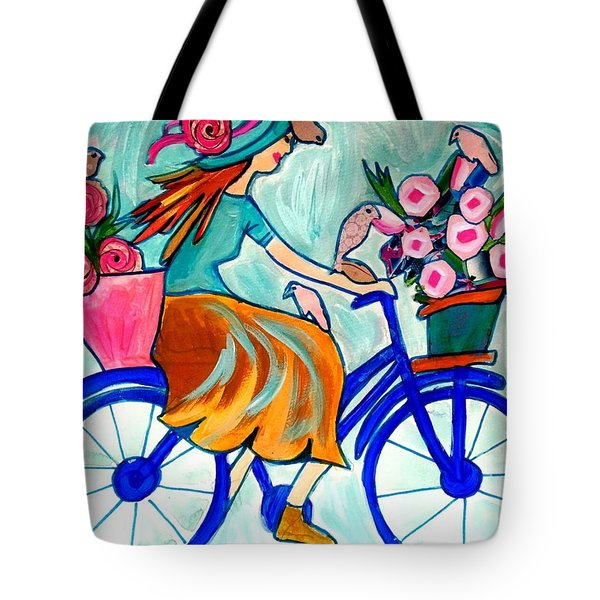 Happy Flower Lady Tote Bag