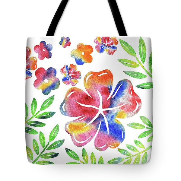 Happy Flowers Watercolor Silhouettes  Tote Bag